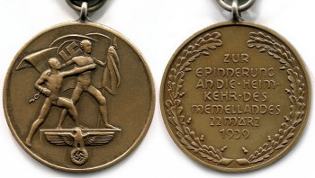Аверс и реверс медали «В память 22 марта 1939 года» (Медаль «Возвращение Мемеля»).