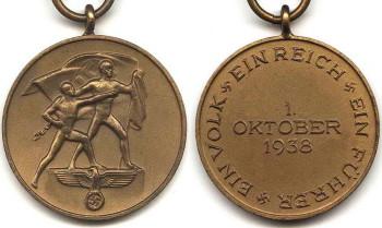 Медаль «В память 1 октября 1938 года» аверс и реверс.