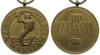 Медаль За Варшаву 1939-1945 аверс и реверс.