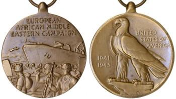 Аверс и реверс медали Европейско-Африканско-Средневосточной кампании.