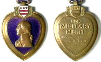 Аверс и реверс медали Пурпурное Сердце.
