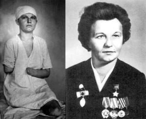 ГСС старшина медицинской службы Зинаида Туснолобова-Марченко (1920-1980). За 8 месяцев на фронте вынесла с поля боя 123 раненых бойцов и командиров. 2 февраля 1943 года в бою за станцию Горшечное Курской области была тяжело ранена, обморожена, день пролежала между трупов. Медицинские работники спасли ей жизнь, хотя она лишилась рук и ног.
