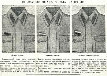 Газетная публикация с примером размещения нашивок за ранение (1942 г.)