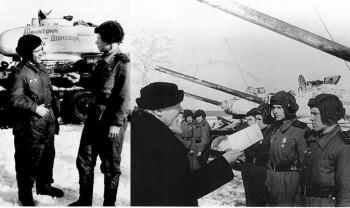 """Передача Армии 7 марта 1944 года в 5 км. северо-западнее Тулы танковой колонны """"Дмитрий Донской"""" созданной по инициативе Русской православной церкви на пожертвования верующих. В ее состав входили 19 танков Т-34-85 и 21 огнеметный танк ОТ-34."""