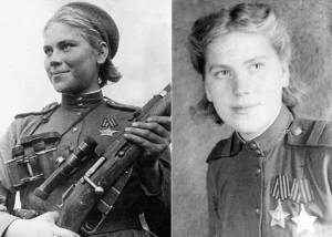 Снайпер ст. сержант Роза Шанина (1924-1945).В действующих войсках со 2 апреля 1944 года. На счету 54 подтверждённых уничтоженных солдат и офицеров, среди которых 12 снайперов, трое пленных солдат противника. Кавалер орденов Славы 2 и 3 степени. Погибла в бою 28 января 1945 года в 3 км юго-восточнее деревни Ильмсдорф, округ Рихау, Восточная Пруссия.